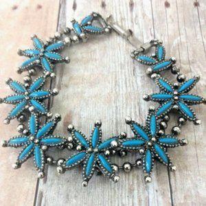 Southwestern Bracelet Needlepoint Faux Turquoise